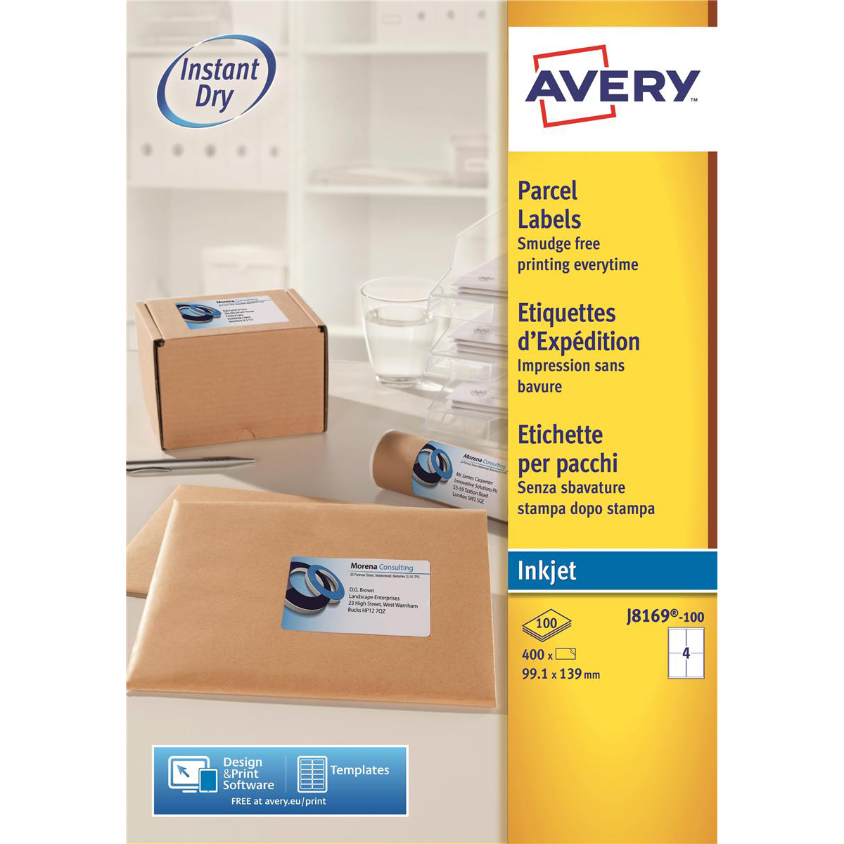 Avery Quick DRY Parcel Labels Inkjet 4 per Sheet 139x99.1mm White Ref J8169-100 400 Labels