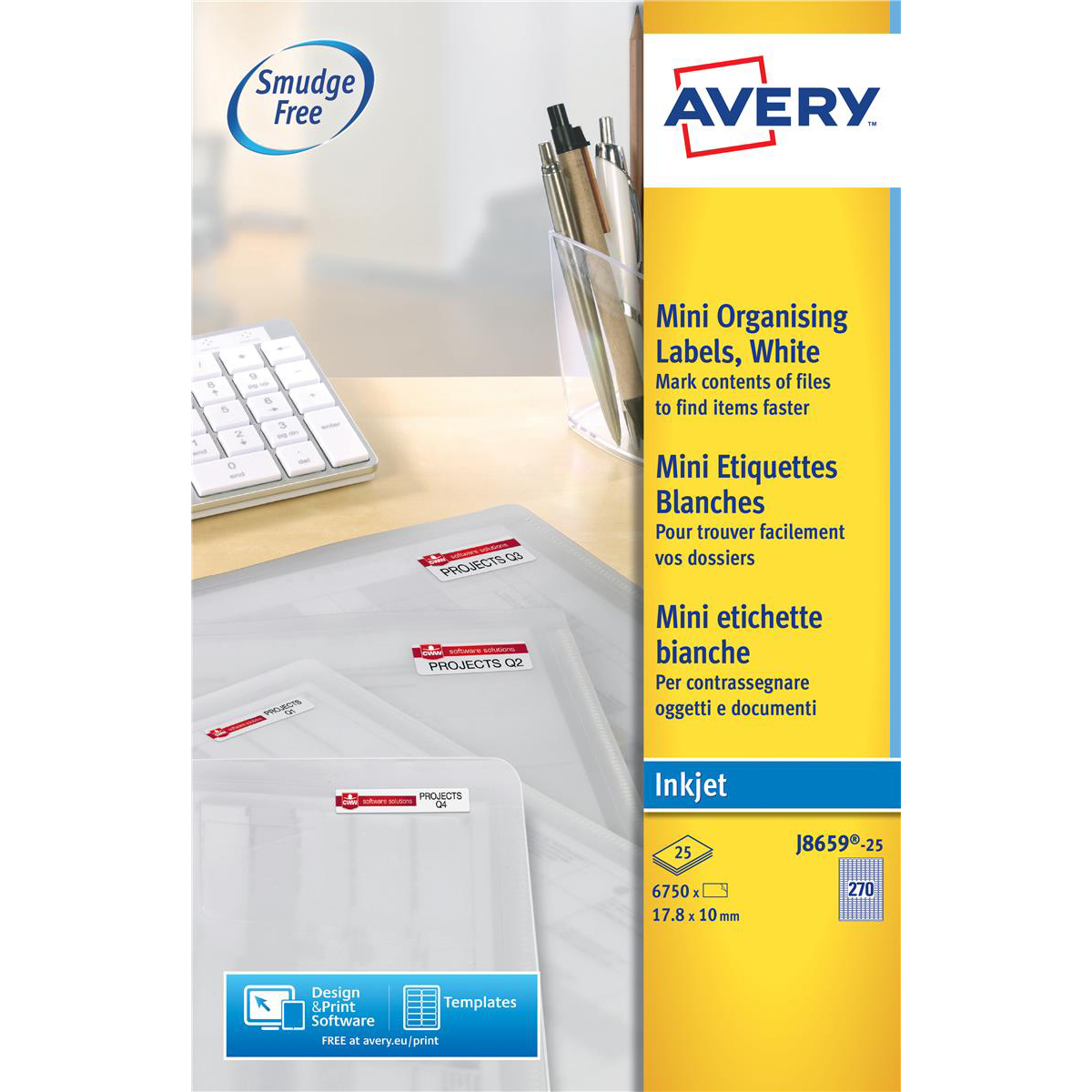 Address Avery Mini Multipurpose Labels Inkjet 270 per Sheet 17.8x10mm White Ref J8659REV-25 6750 Labels