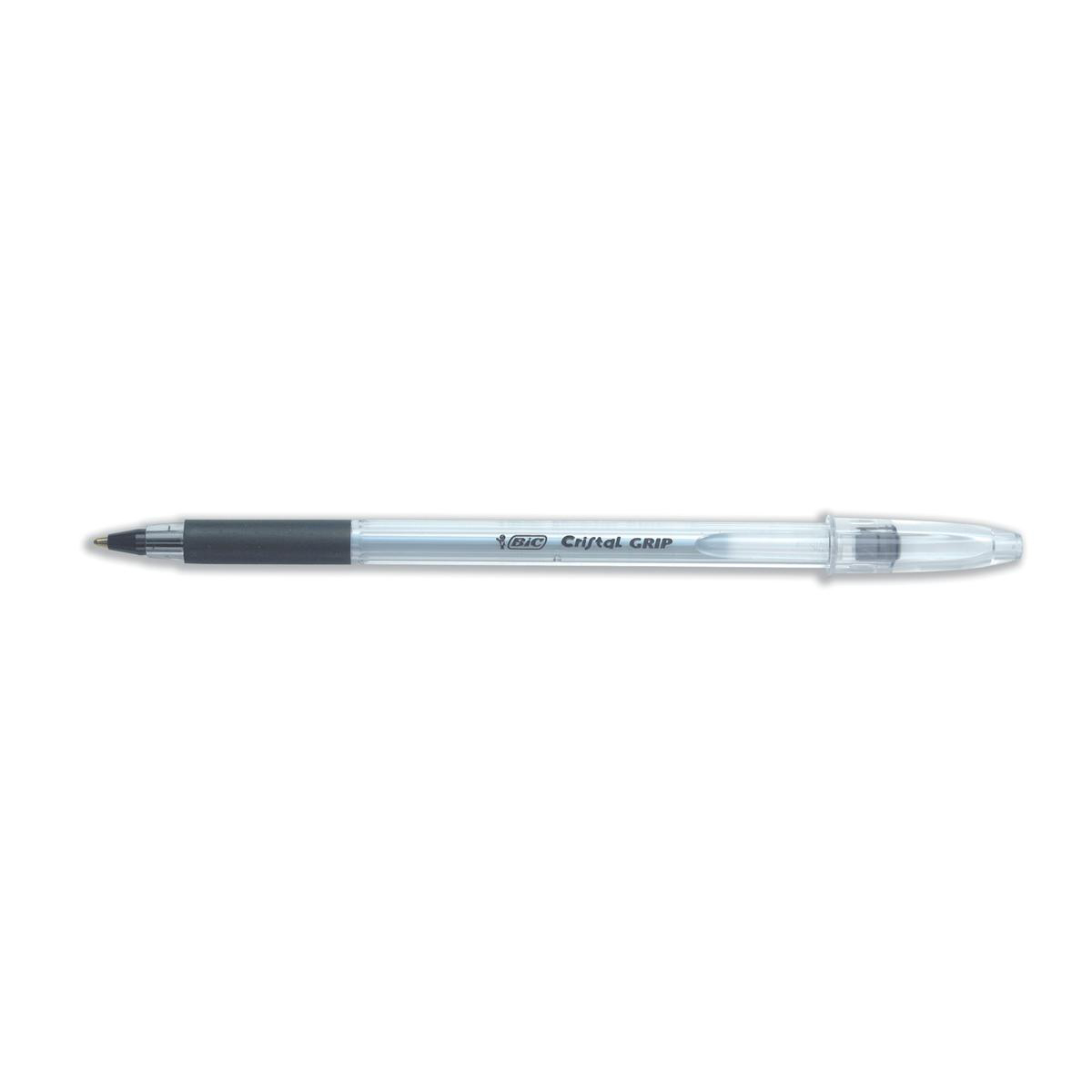 Bic Cristal Grip Ball Pen Medium Clear Barrel 1.0mm Tip 0.32mm Line Black Ref 802800 [Pack 20]
