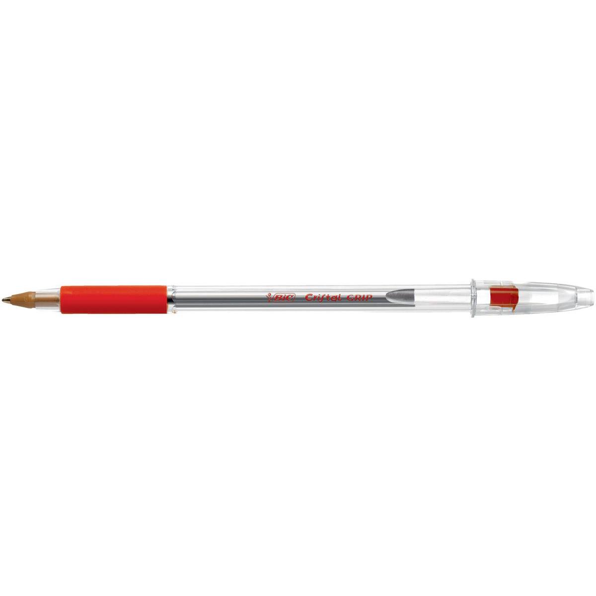 Bic Cristal Grip Ball Pen Medium Clear Barrel 1.0mm Tip 0.32mm Line Red Ref 802803 Pack 20