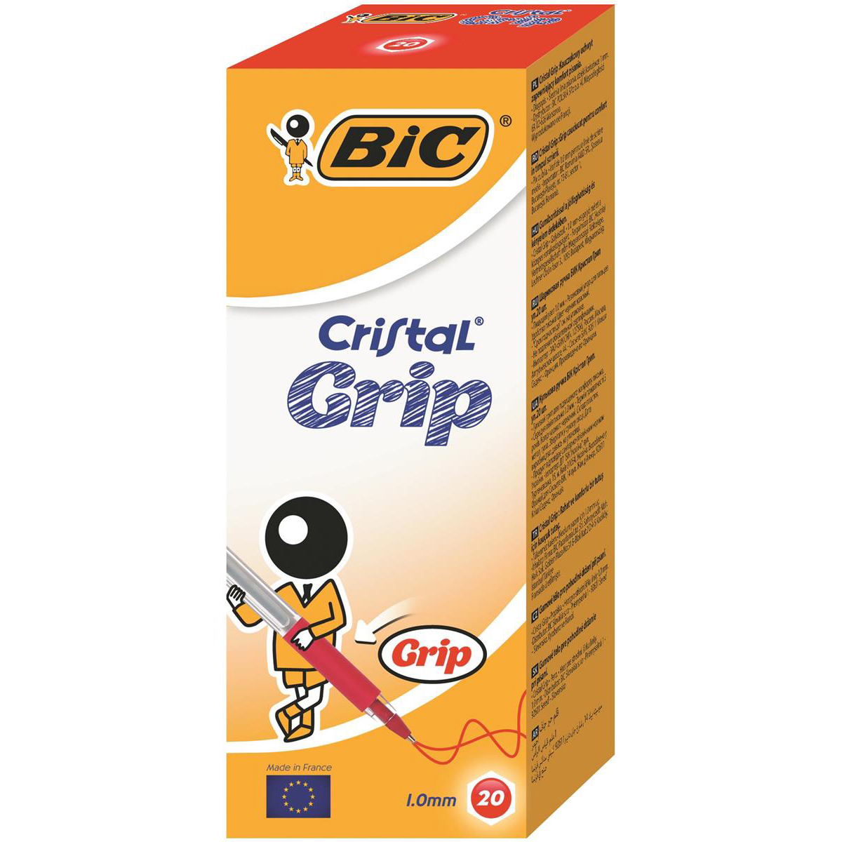 Bic Cristal Grip Ball Pen Medium Clear Barrel 1.0mm Tip 0.32mm Line Red Ref 802803 Pack 20