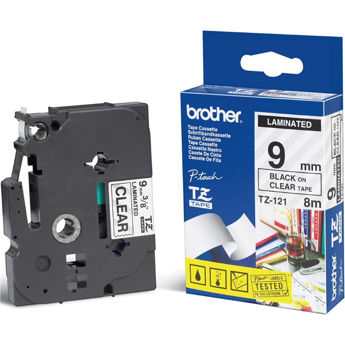 Brother P-touch TZE Label Tape 9mmx8m Black on Clear Ref TZE121