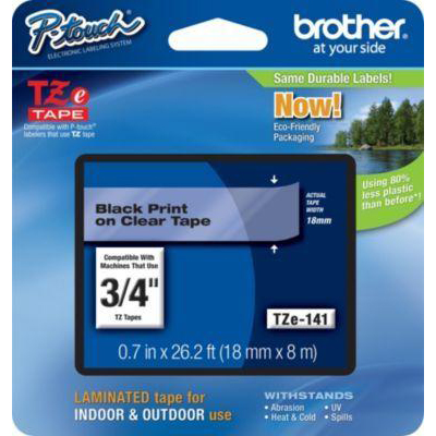 Brother P-touch TZE Label Tape 18mmx8m Black on Clear Ref TZE141