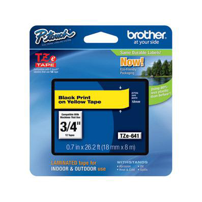Brother P-touch TZE Label Tape 18mmx8m Black on Yellow Ref TZE641