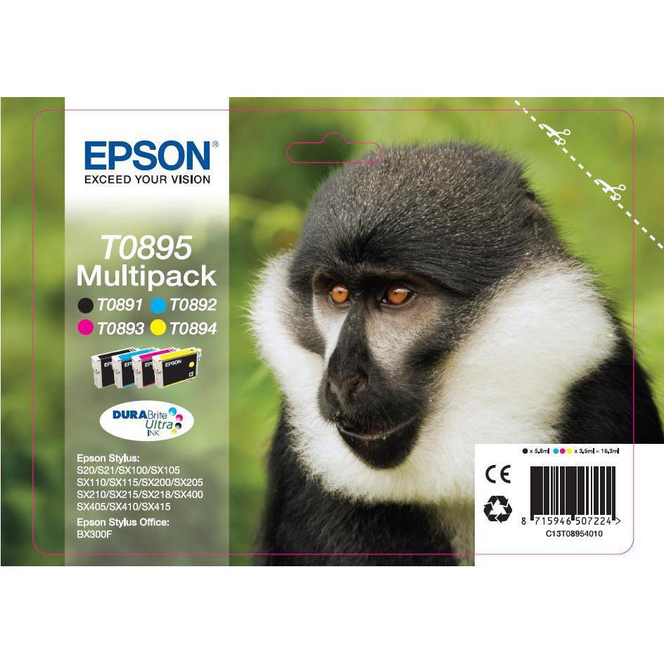 Epson T0895 InkjetCart Monkey Blk180pp 5.8ml/Cyan185pp/Mag185pp/Yell185pp 3.5ml Ref C13T08954010 Pack 4