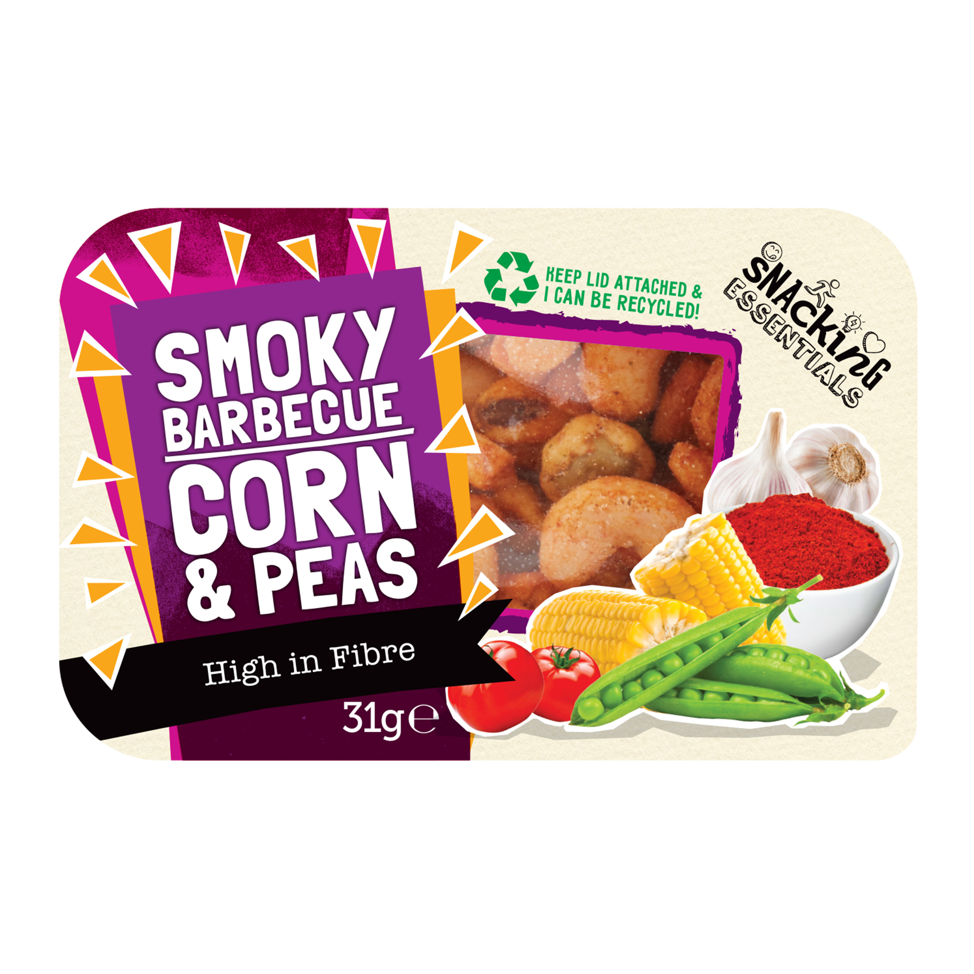 Breakfast / Snacks Snacking Essentials Smokey Barbecue Corn & Peas Snack Pot 31g Ref 512531 Pack 9