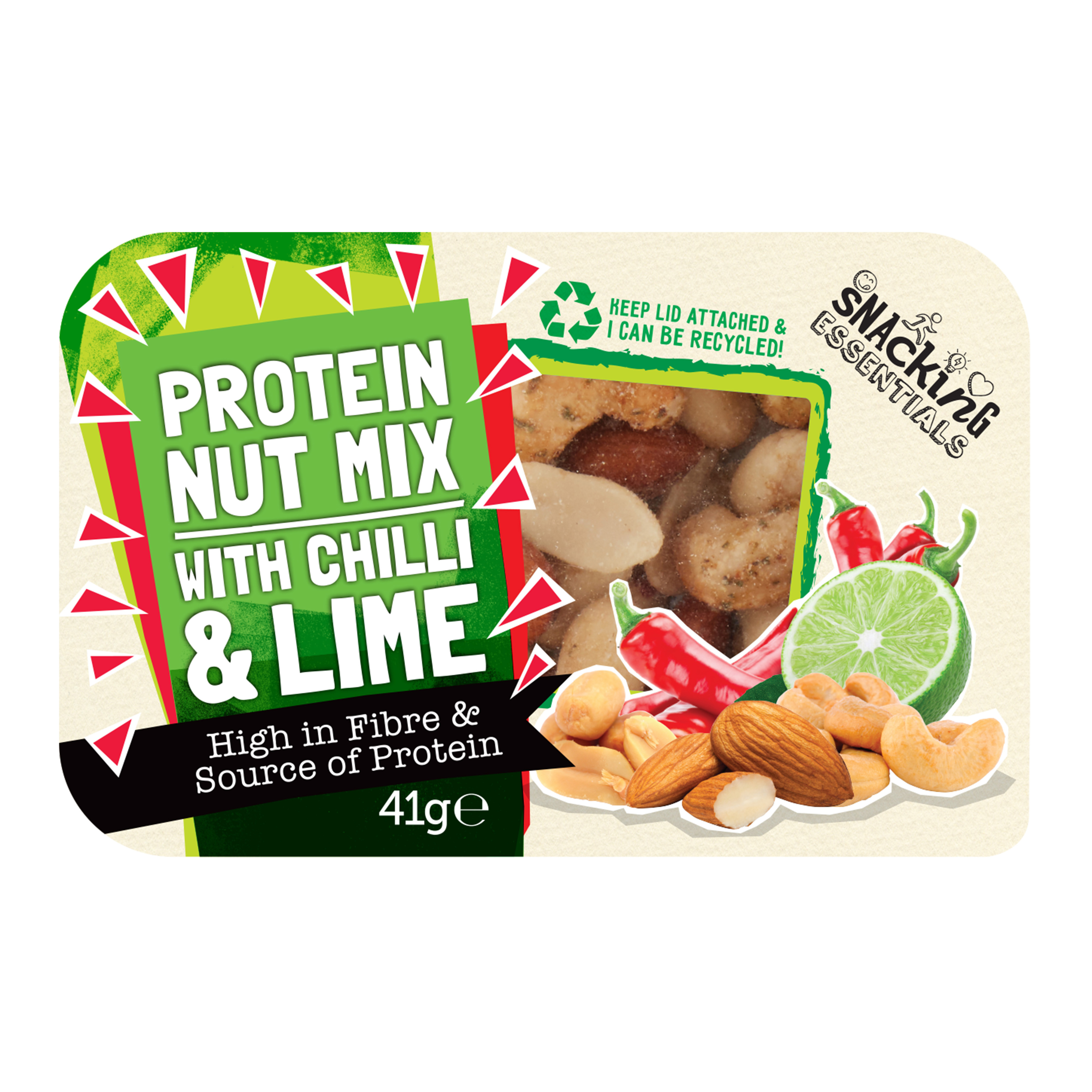 Snacking Essentials Nut Mix Chilli & Lime Snack Pot 41g Ref 512541 Pack 9