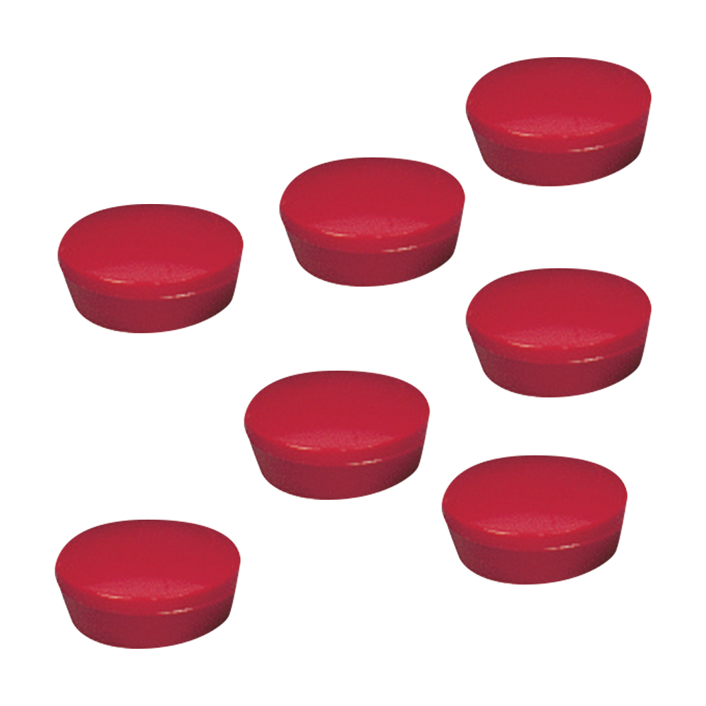5 Star Office Round Plastic Covered Magnets 20mm Red Pack 10