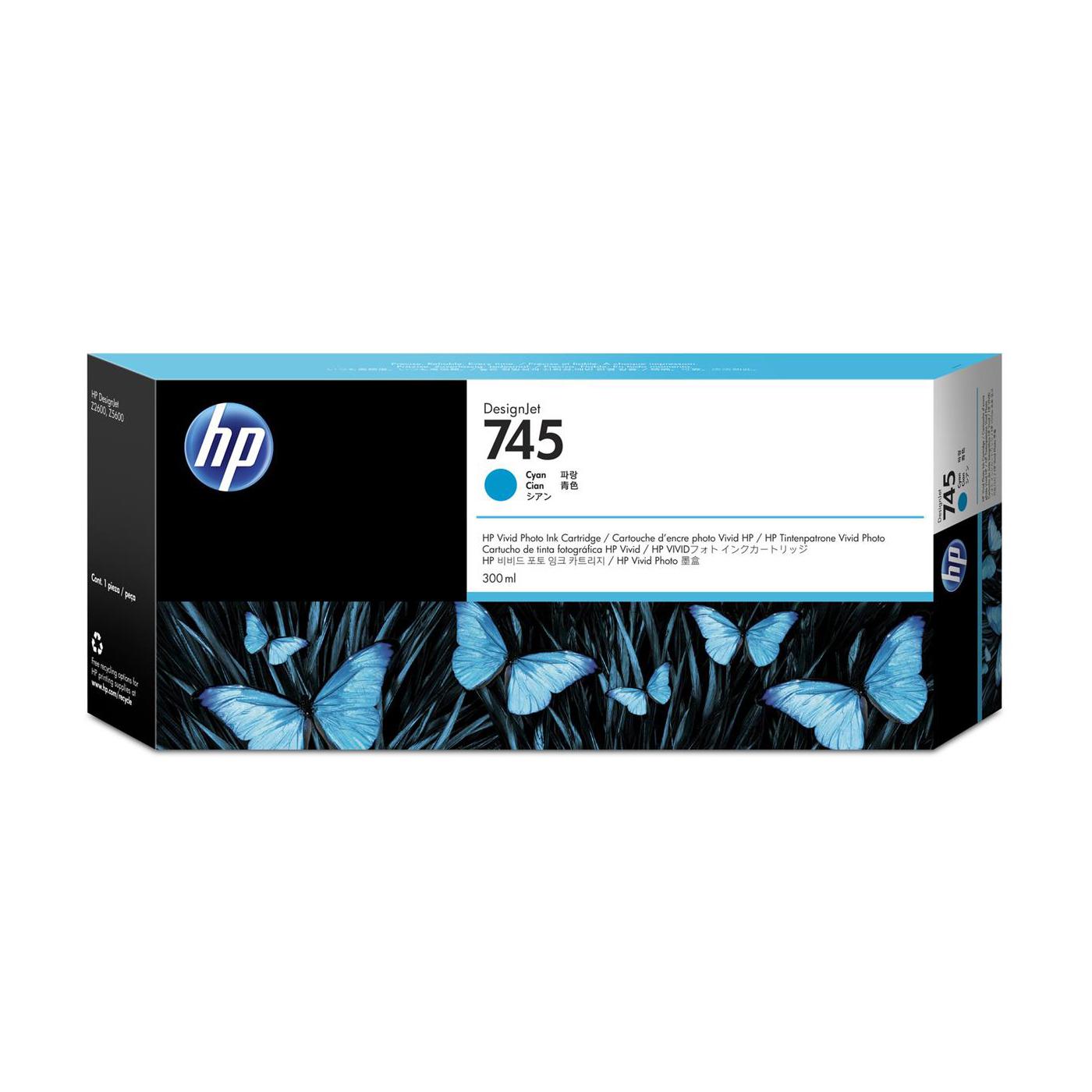 HP 745 300ml DesignJet Cyan Ink Cartridge F9K03A *3 to 5 Day Leadtime*