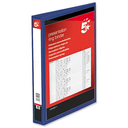5 Star Office Presentation Ring Binder PP Cover 25mm 2-ring A4 Blue Pack 10