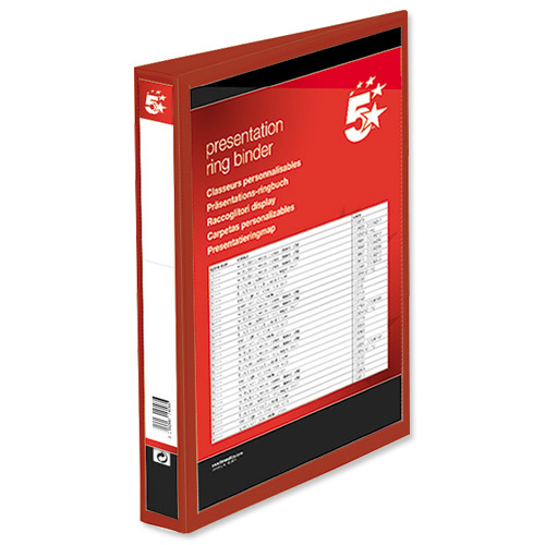 5 Star Office Presentation Ring Binder PP Cover 25mm 2-ring A4 Red Pack 10