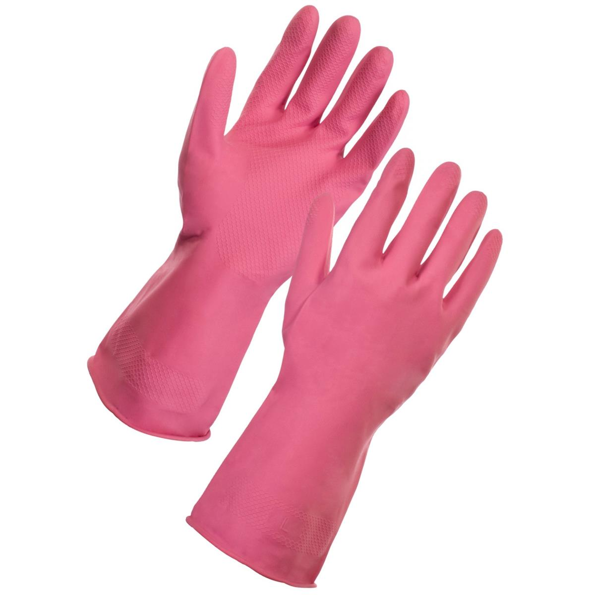 Supertouch Household Latex Gloves Large Pink Ref 13353 [Pair]