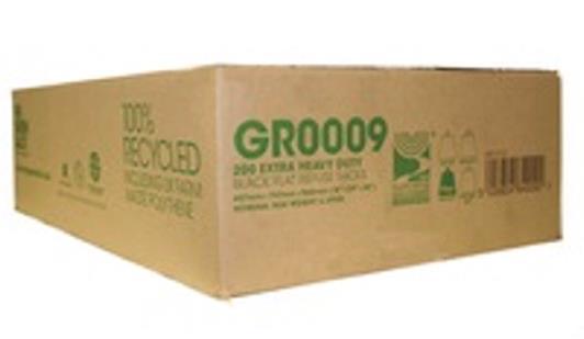 The Green Sack Refuse Sacks Extra Heavy Duty 20kg Capacity Black Ref 703113 [Pack 200]