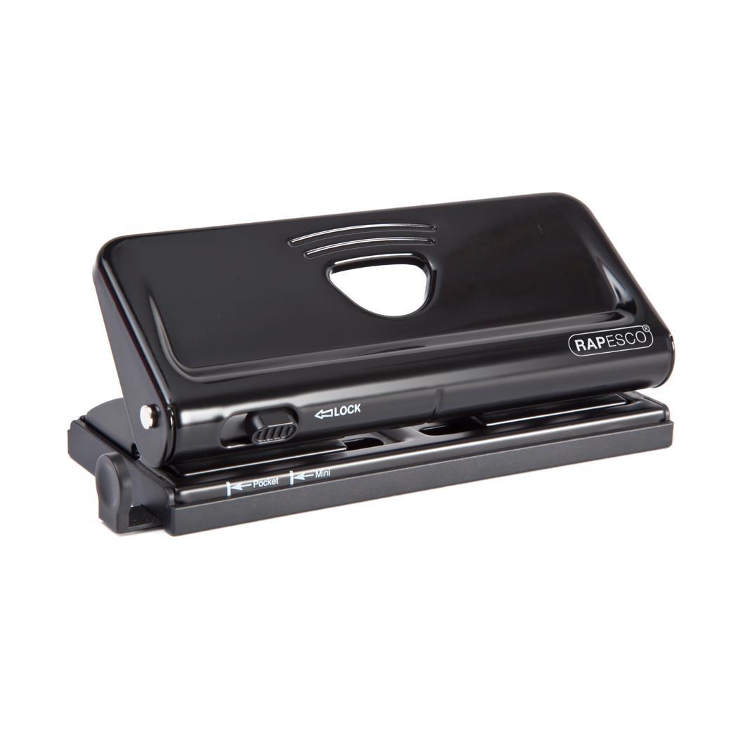 Rapesco Punch 6 Hole Adjustable Capacity 10x 80gsm Black Ref 1342