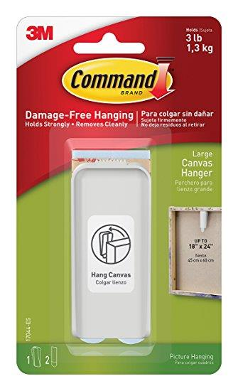 Command Hanger for Canvas Artwork Damage-free Hanging with 2 Strips Large Ref 70006954351