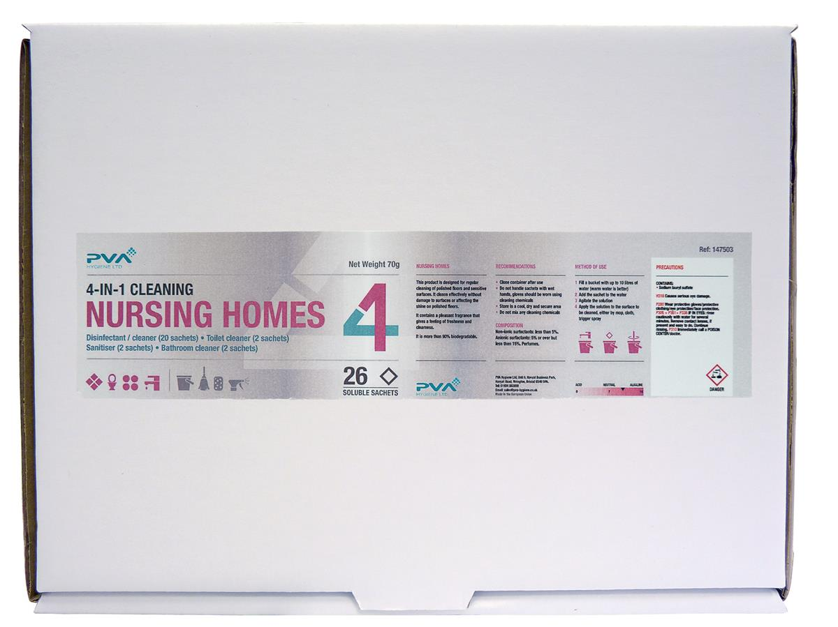 PVA Cleaning Sachets Nursing Homes Mixed Pack Ref C2