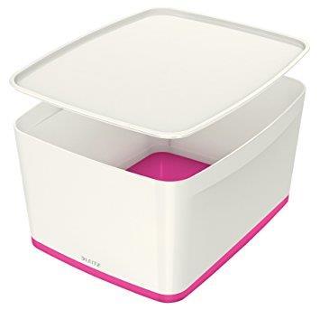 Leitz MyBox Storage Box Large with Lid Plastic W385xD318xH198mm White/Pink Ref 52164023