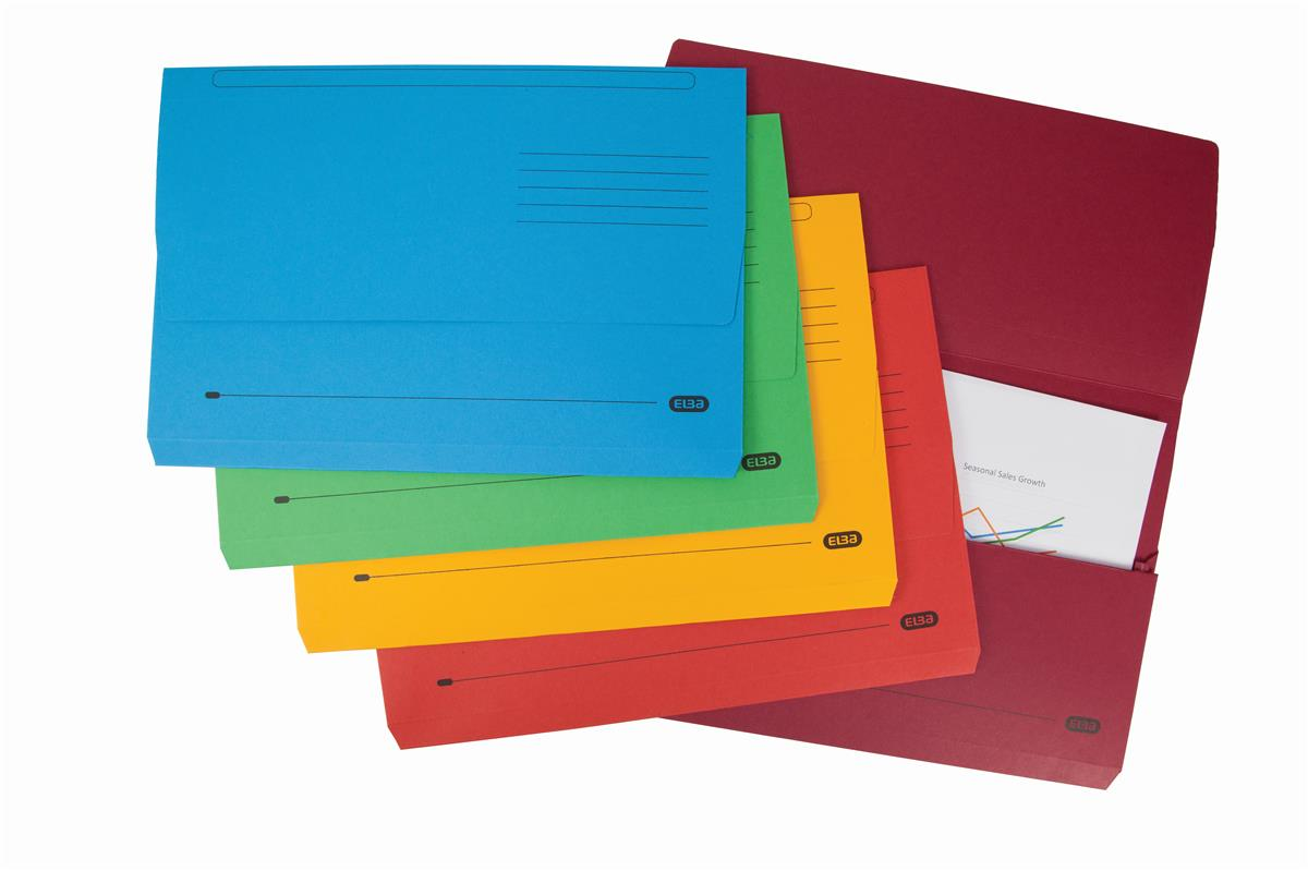 Elba Bright Manilla Document Wallet 320gsm Capacity 32mm Foolscap Assorted Ref 400099327 [Pack 10]