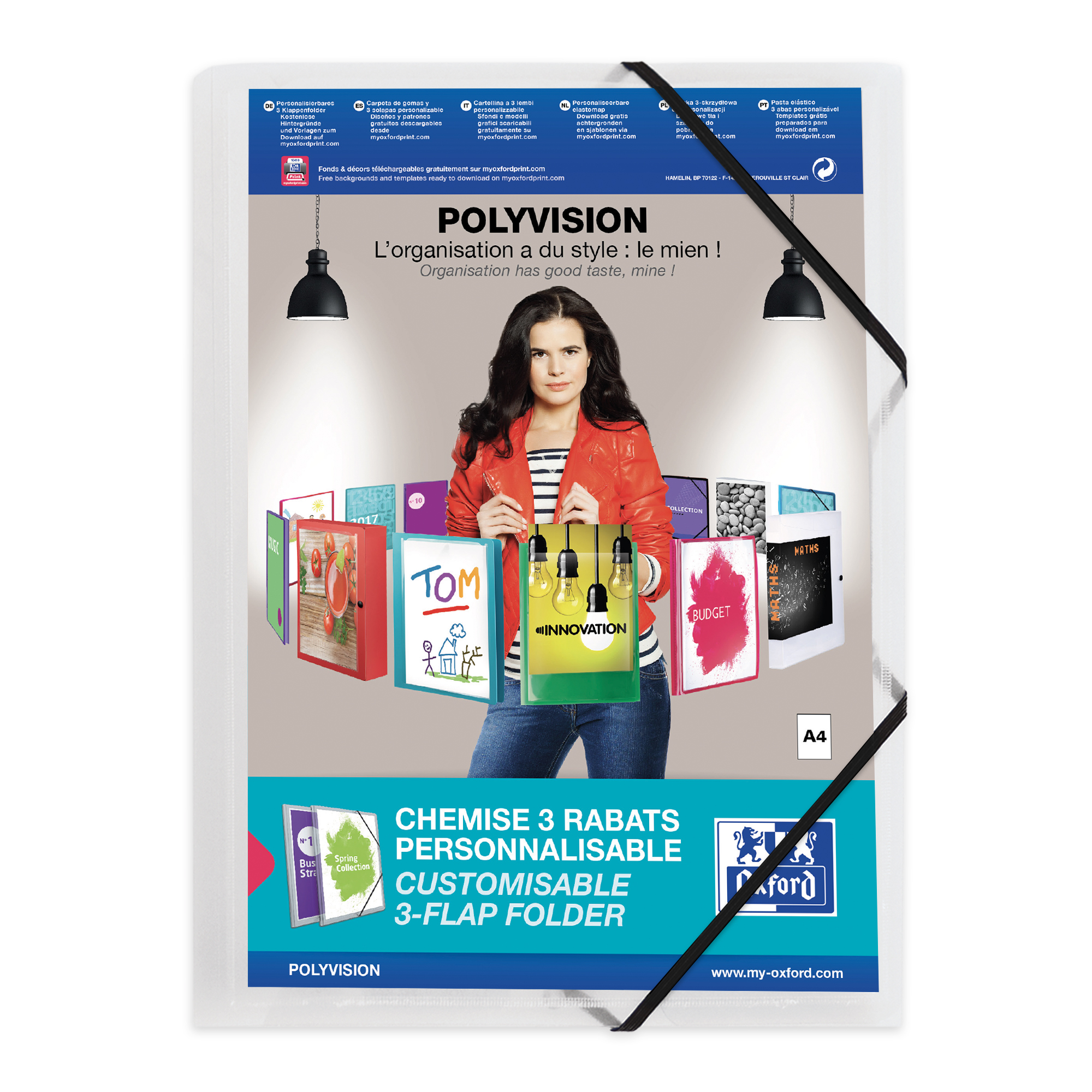 Oxford Polyvision Elasticated Folder 3-Flap Polypropylene A4 Clear Ref 100201153 [Pack 12]