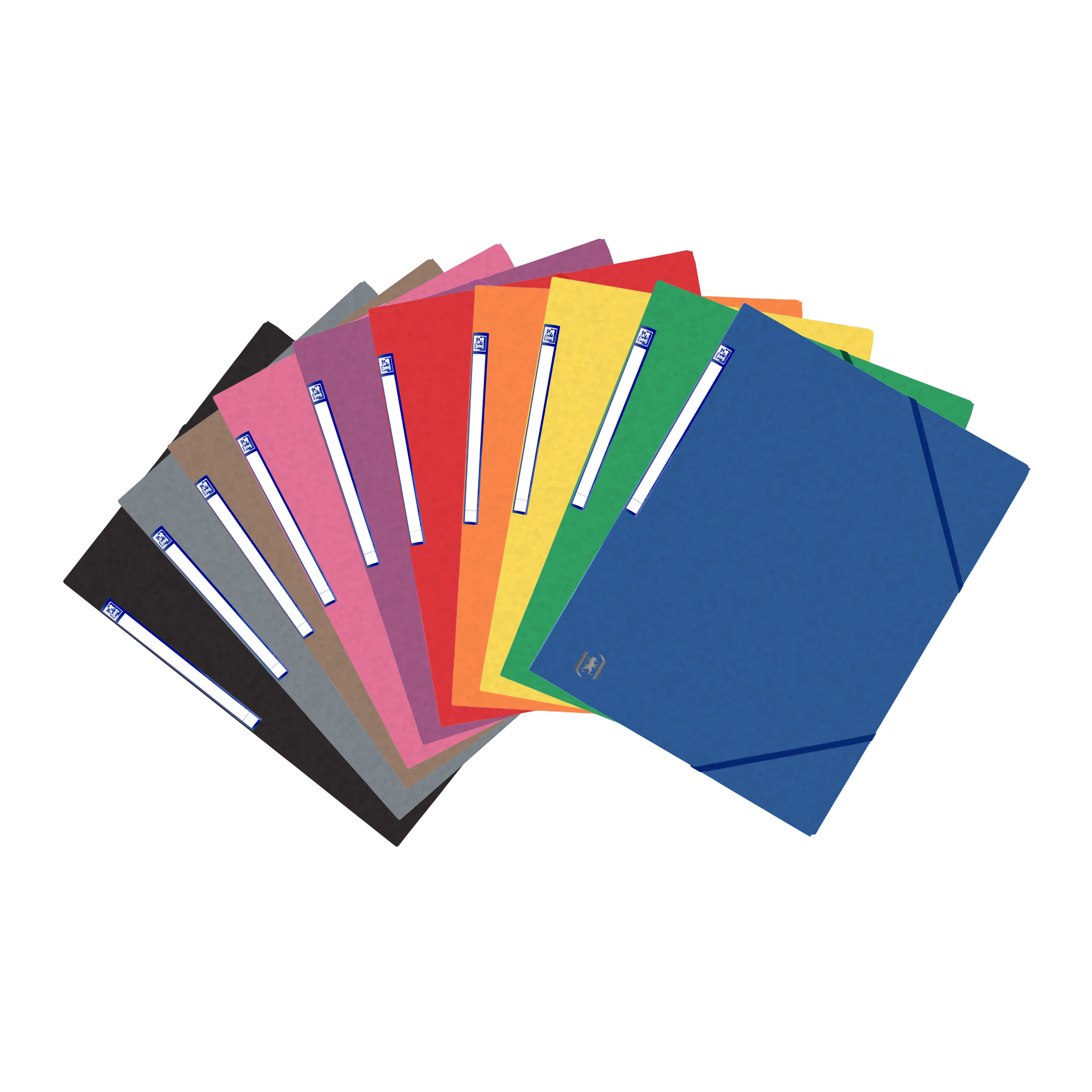 Elba Eurofolio Folder Elasticated 3-Flap 450gsm A4 Assorted Ref 100200976 Pack 10