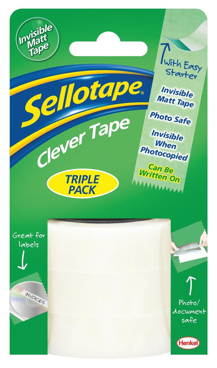 Image for Sellotape Clever Tape Write On Copier Friendly Tearable 18mmx15m Triple Pack Ref 1570248 [18 Rolls]