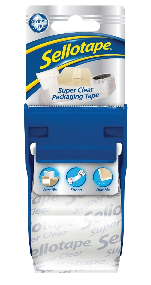 Image for Sellotape Super Clear Parcel Tape 48mmx20m and Dispenser Ref 1766000 [6 Rolls]