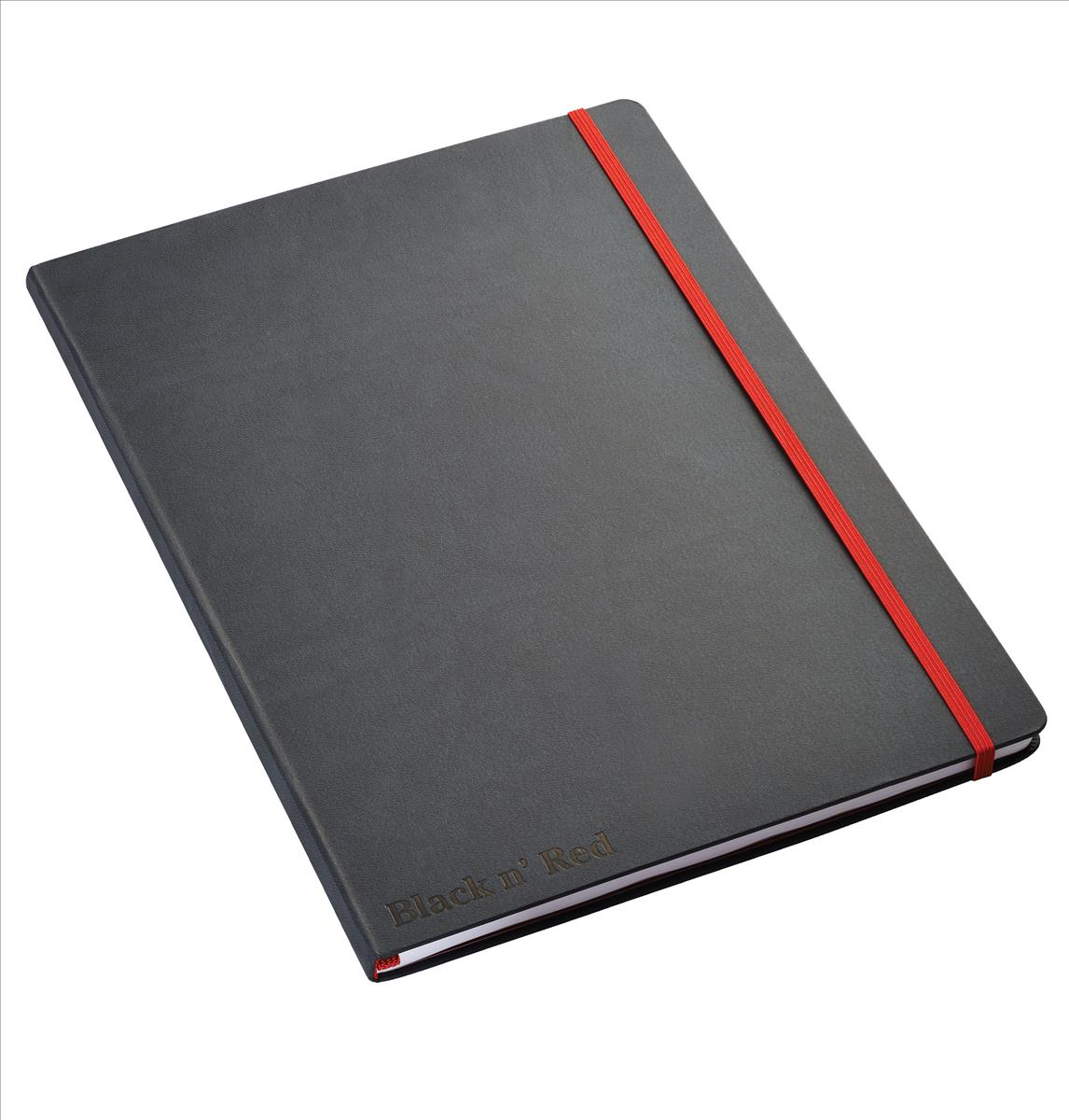 Image for Black By Black n Red Casebound Notebook 90gsm Ruled and Numbered 144pp A4 Ref 400038675