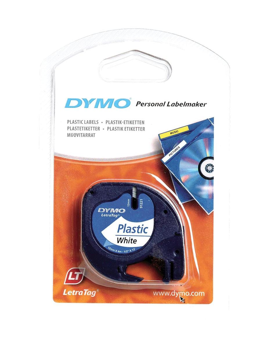 Image for Dymo LetraTag Tape Plastic 12mmx4m Black on Clear Ref S0721530