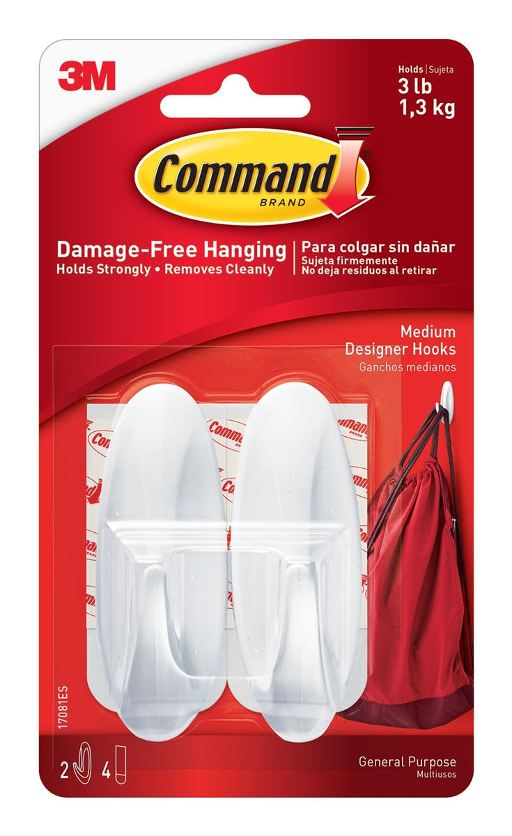 Image for Command Oval Adhesive Hooks Medium Ref 17081 [Pack 2]