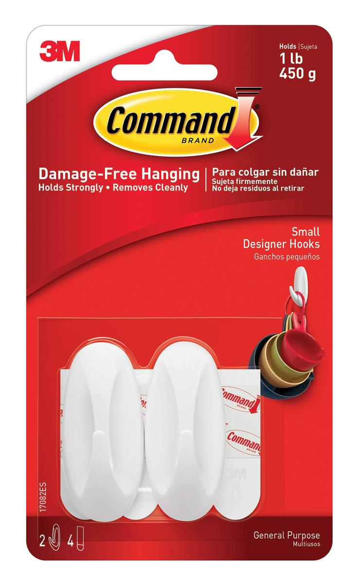 Image for Command Oval Adhesive Hooks Small Ref 17082 [Pack 2]