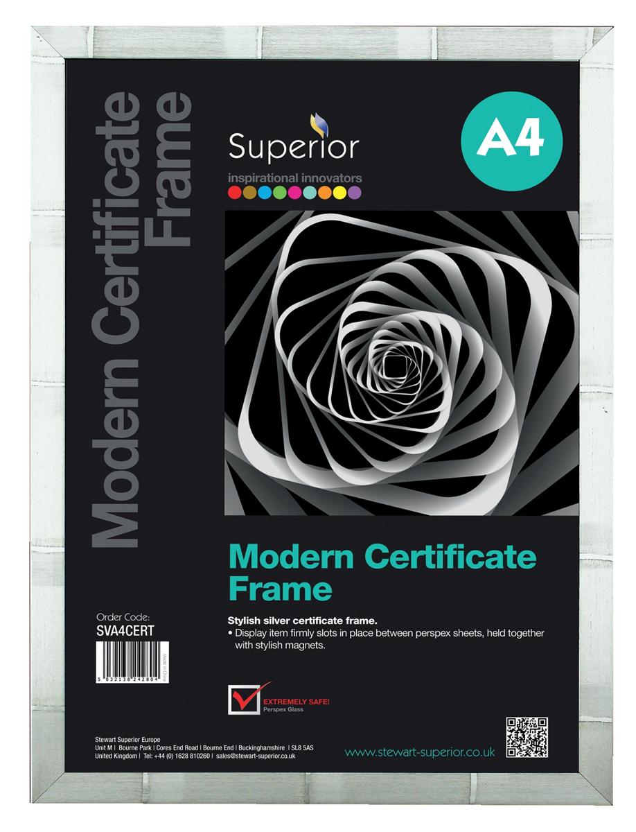 Clip Certificate Frame Silver Patterned with Perspex Front Back-loading A4 376x22x250mm Silver
