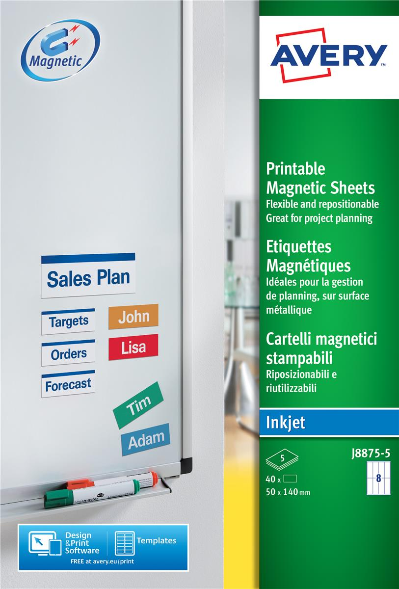 Image for Avery Magnetic Sign Removable 50x140mm 8 per Sheet White Ref J8875-5 [40 Signs]