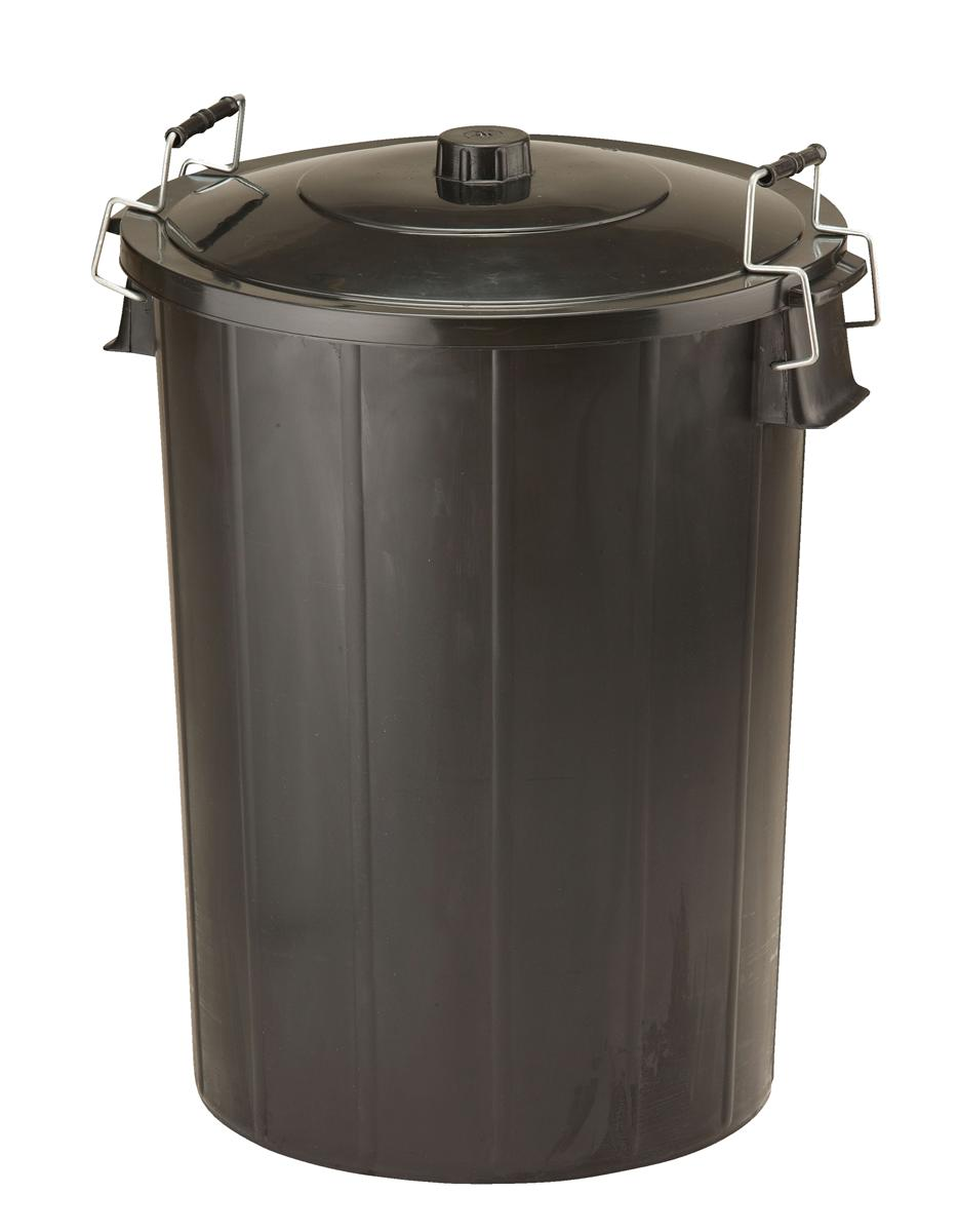 Image for Refuse Bin With Lid and Metal Clip Handles 80 Litre Black Ref GN346