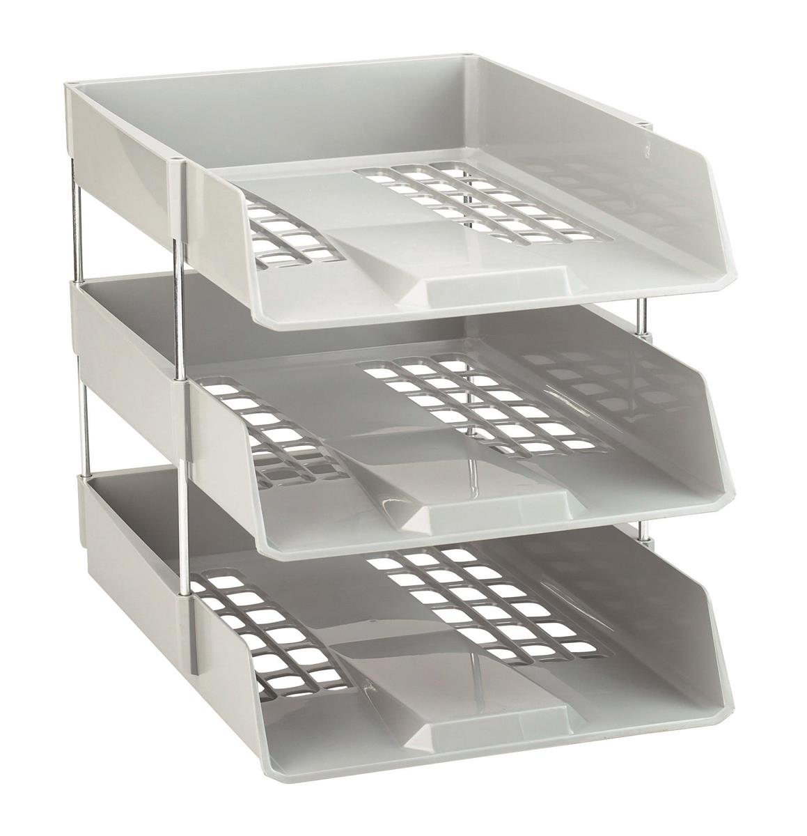 Image for Avery Basics Letter Tray Stackable Versatile A4 Foolscap Light Grey Ref 1132LGRY