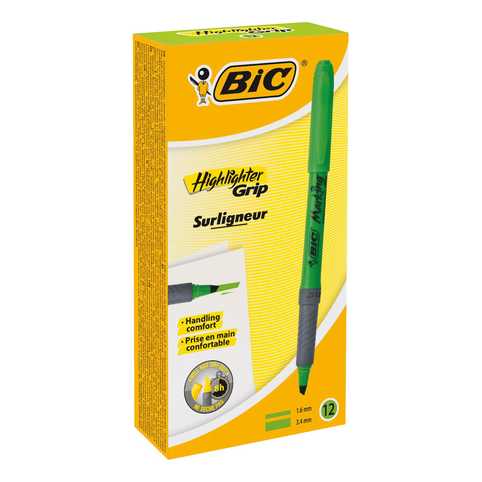 Bic Grip Pen-shaped Highlighter Green Ref 811932 [Pack 12]