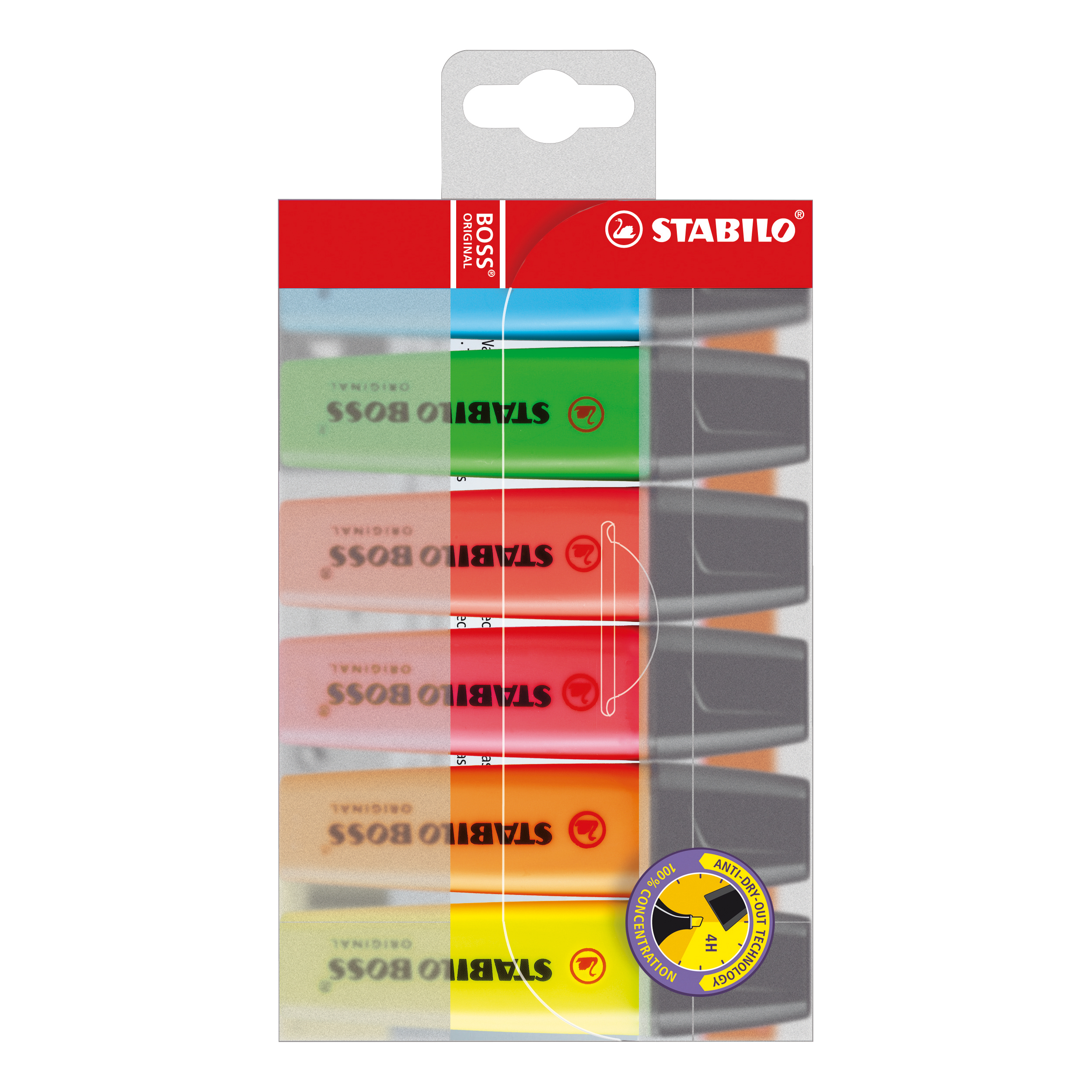 Stabilo Boss Highlighters Chisel Tip 2-5mm Line Wallet Assorted Ref 70/6 [Pack 6]