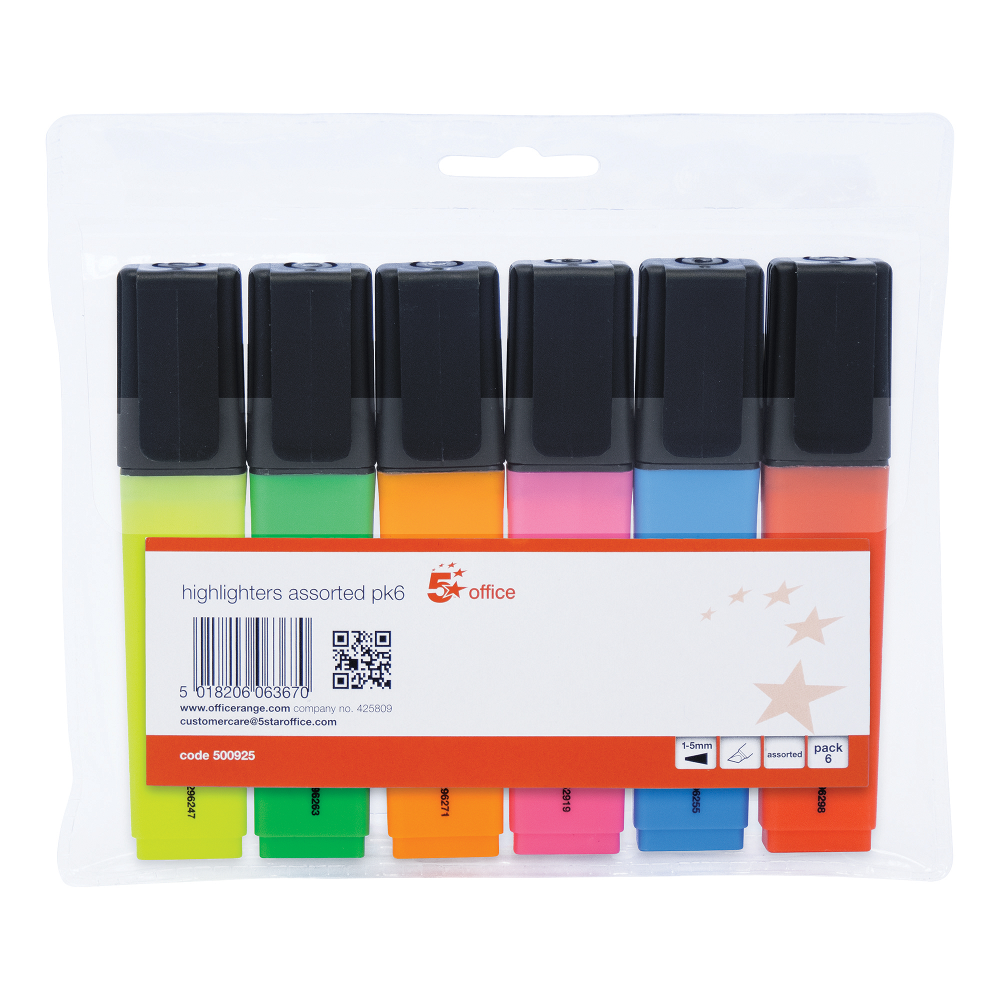 5 Star Office Highlighter Chisel Tip 1-5mm Line Wallet Assorted Pack 6