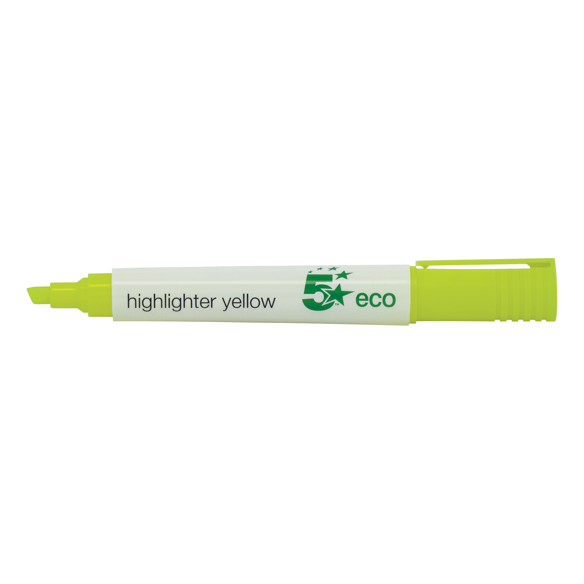 5 Star Eco Highlighter Chisel Tip 1-5mm Line Yellow Pack 10