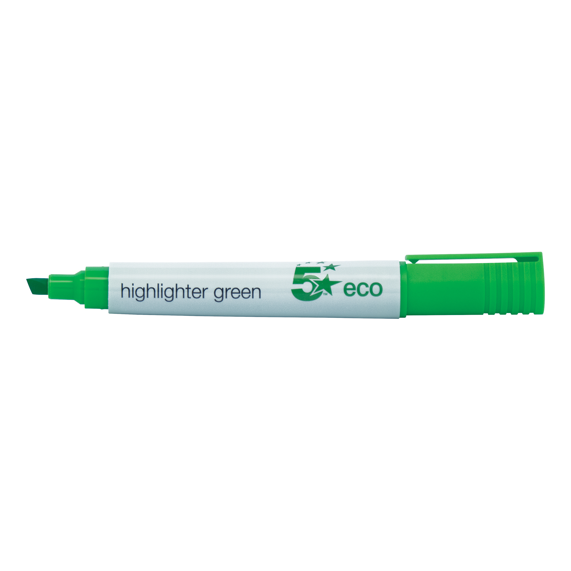 5 Star Eco Highlighter Chisel Tip 1-5mm Line Green [Pack 10]