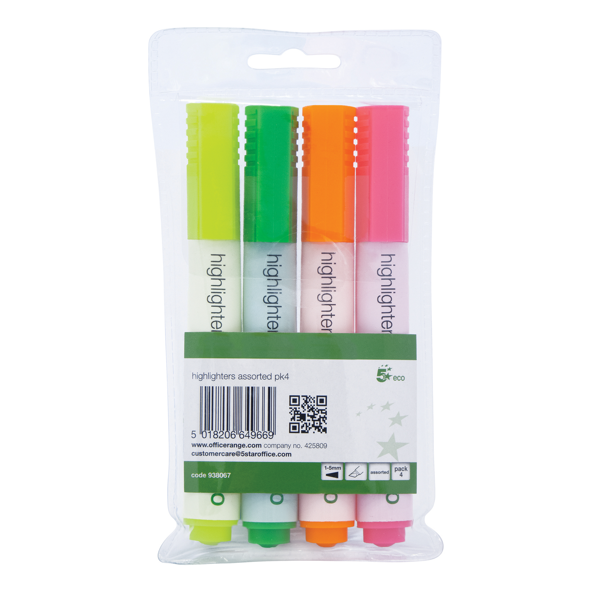 5 Star Eco Highlighter Chisel Tip 1-5mm Line Wallet Assorted [Pack 4]