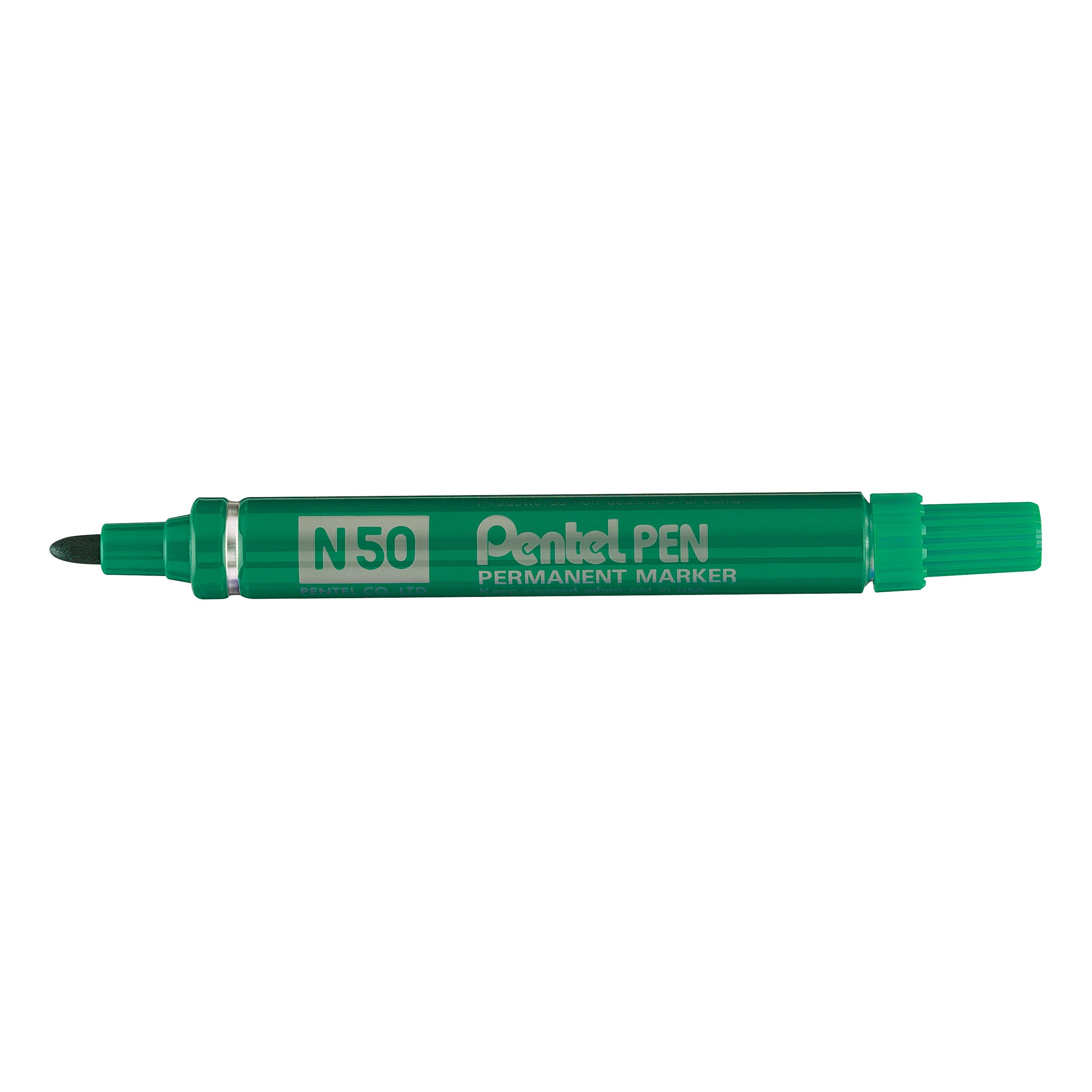 Pentel N50 Permanent Marker Bullet 4.3mm Tip 2.2mm Line Green Ref N50-D [Pack 12]