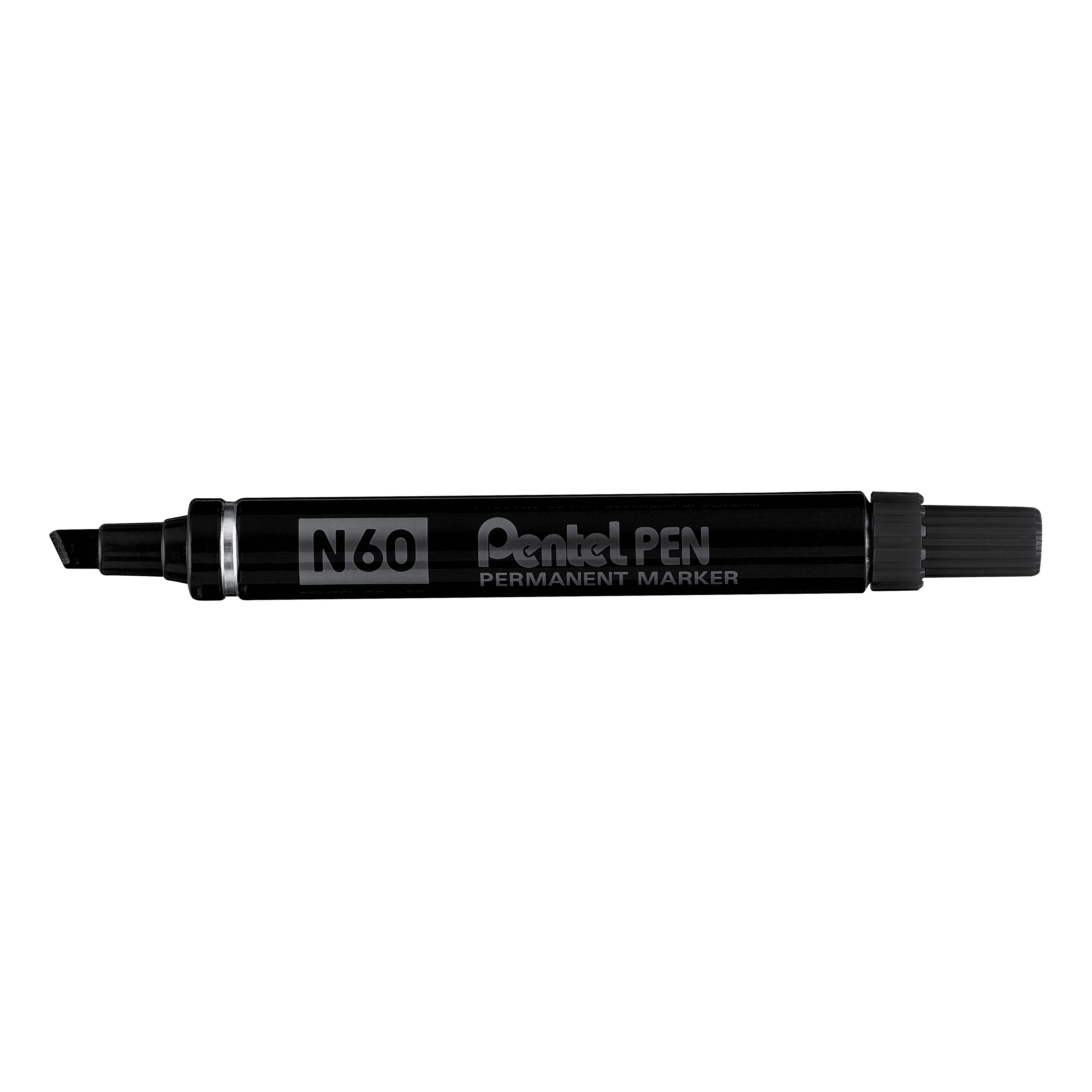 Pentel N60 Permanent Marker Chisel Tip Variable 3.9mm-5.7mm Line Black Ref N60-A [Pack 12]