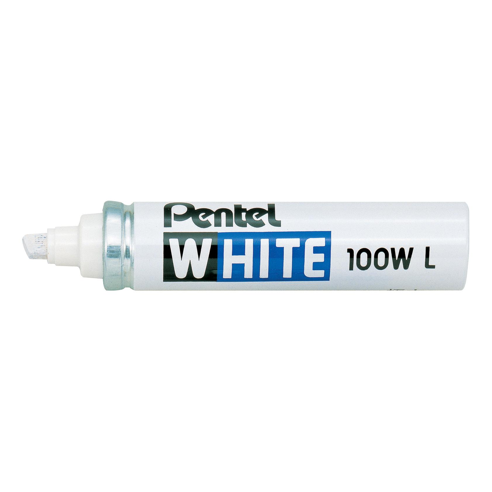 Pentel Permanent Marker Valve-controlled Chisel Tip 5.5mm-6.5mm Line White Ref X100WL [Pack 12]