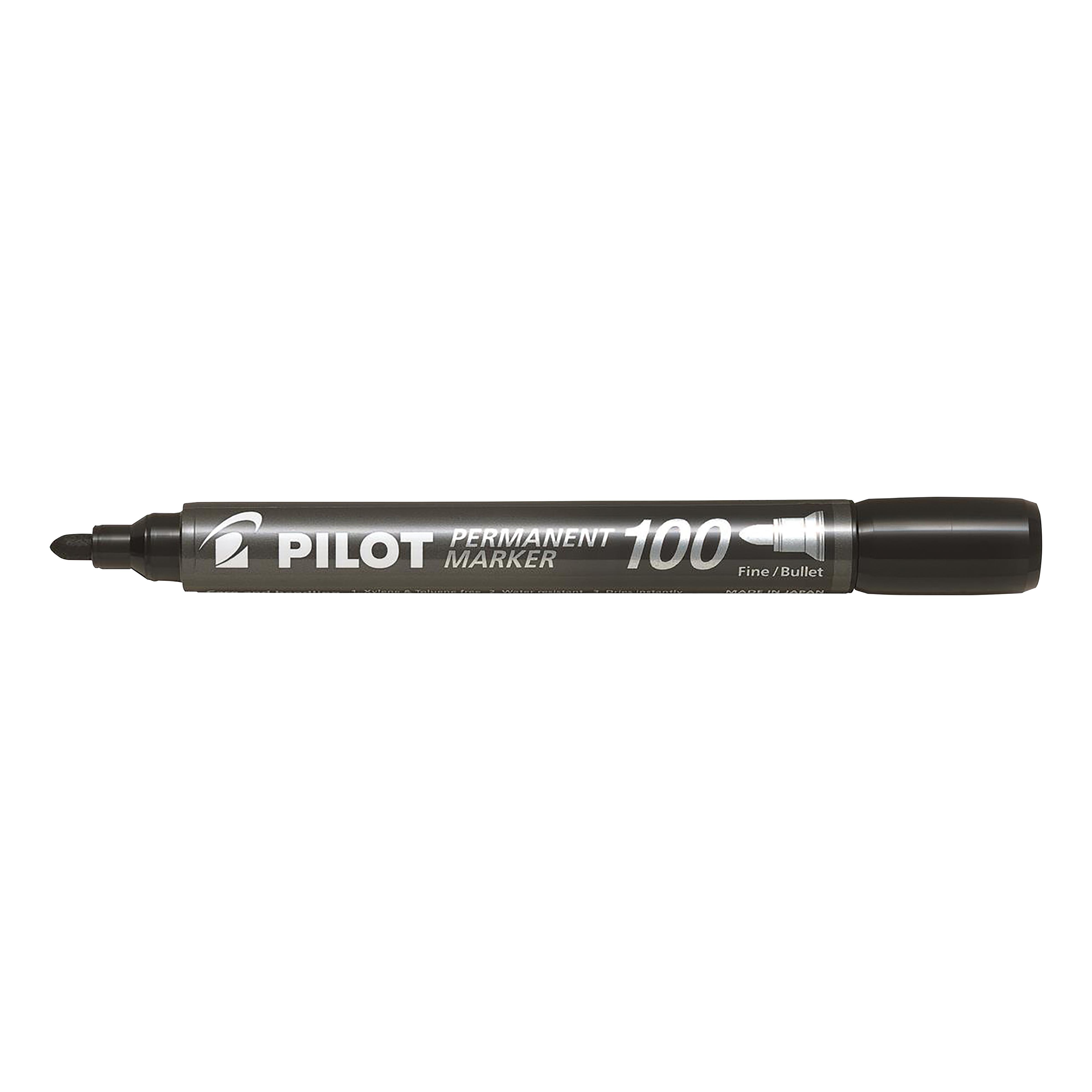 Pilot 100 Permanent Marker Bullet Tip 4.5mm Tip 1mm Line Black Ref 3131910501268 Pack 15&5 Free