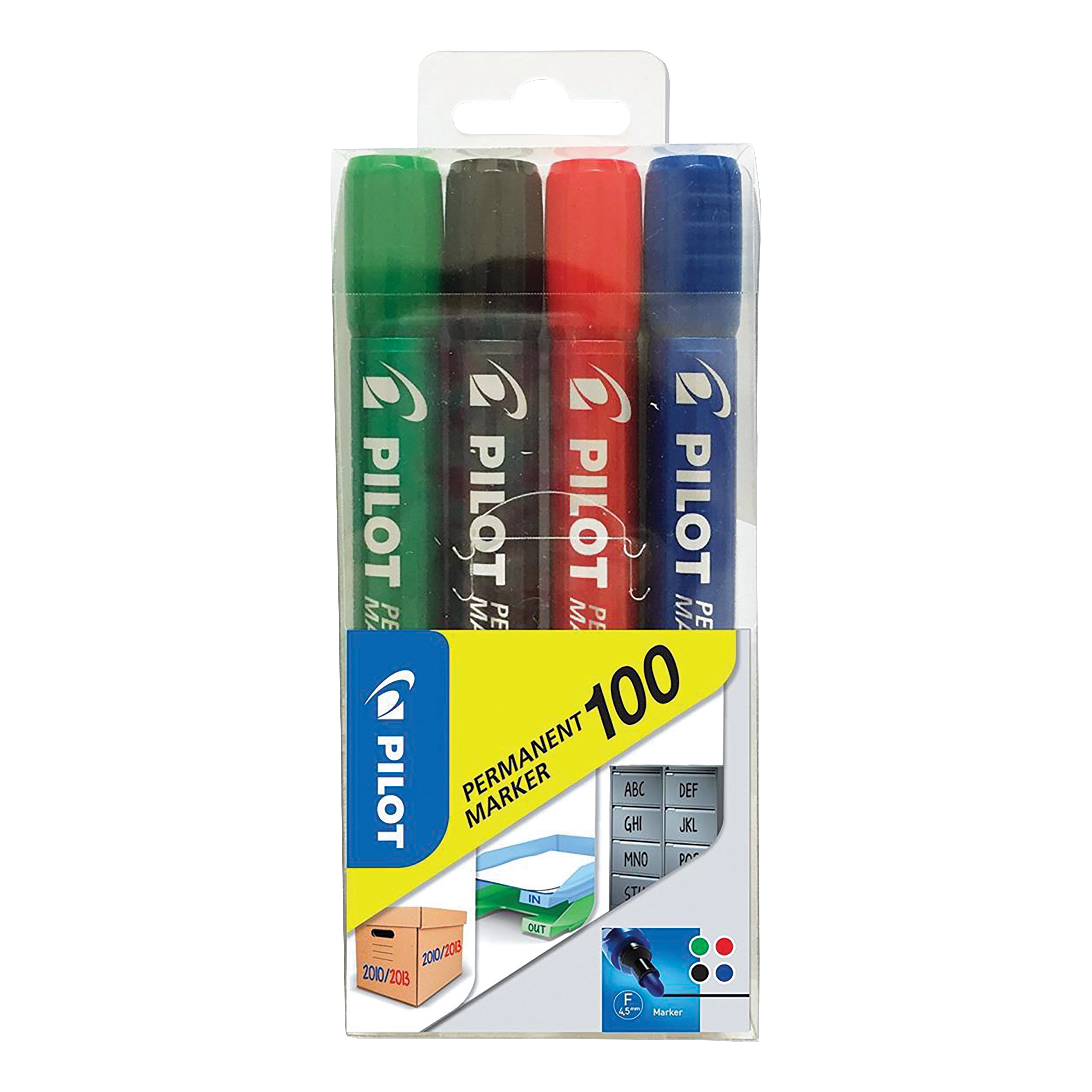 Pilot 100 Permanent Marker Bullet Tip 1mm Line Asstd Black/Blue/Red/Green Ref 3131910501725 Pack 4