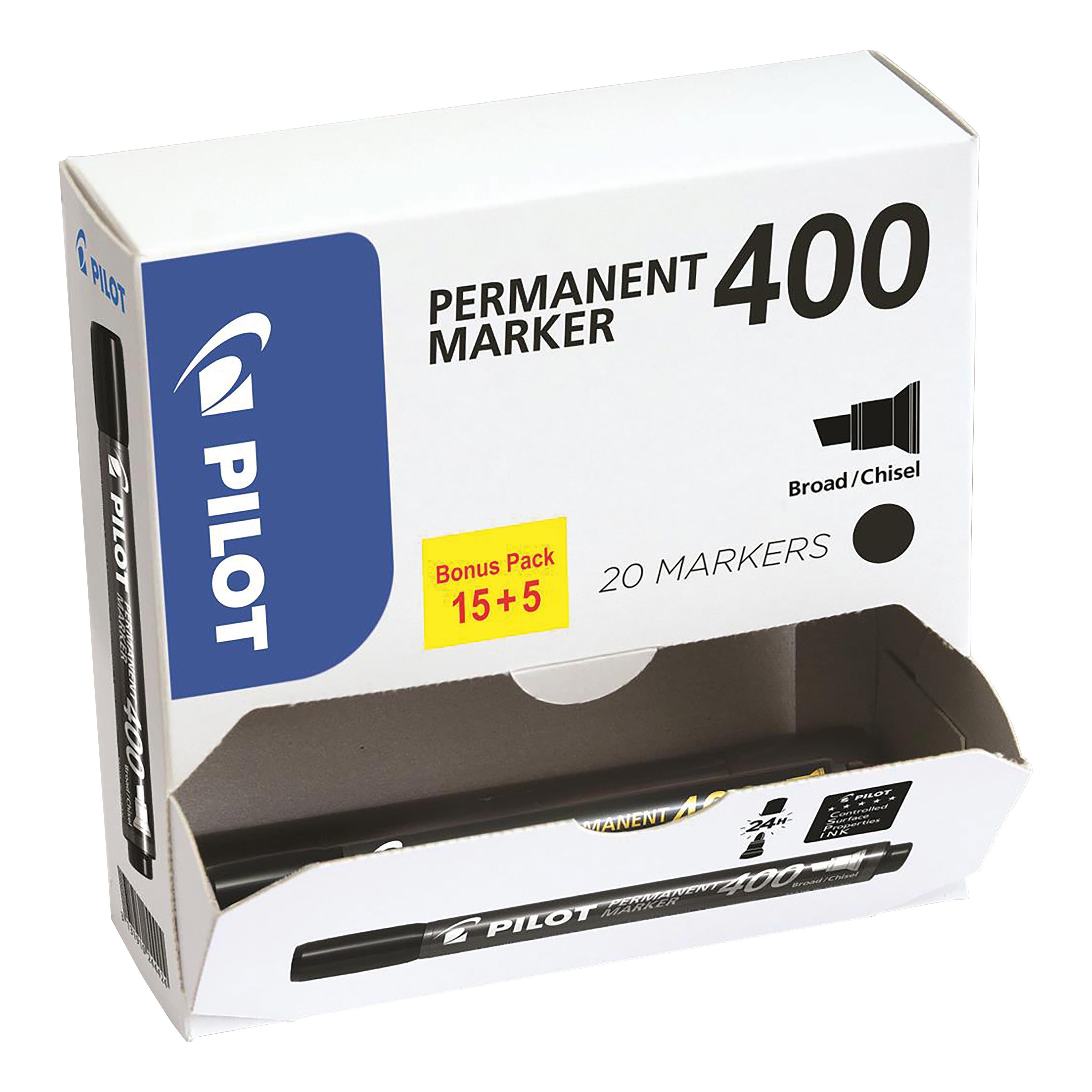Pilot 400 Permanent Marker Chisel Tip Line 1.5-4.0mm Black Ref 3131910504061 Pack 15&5 Free