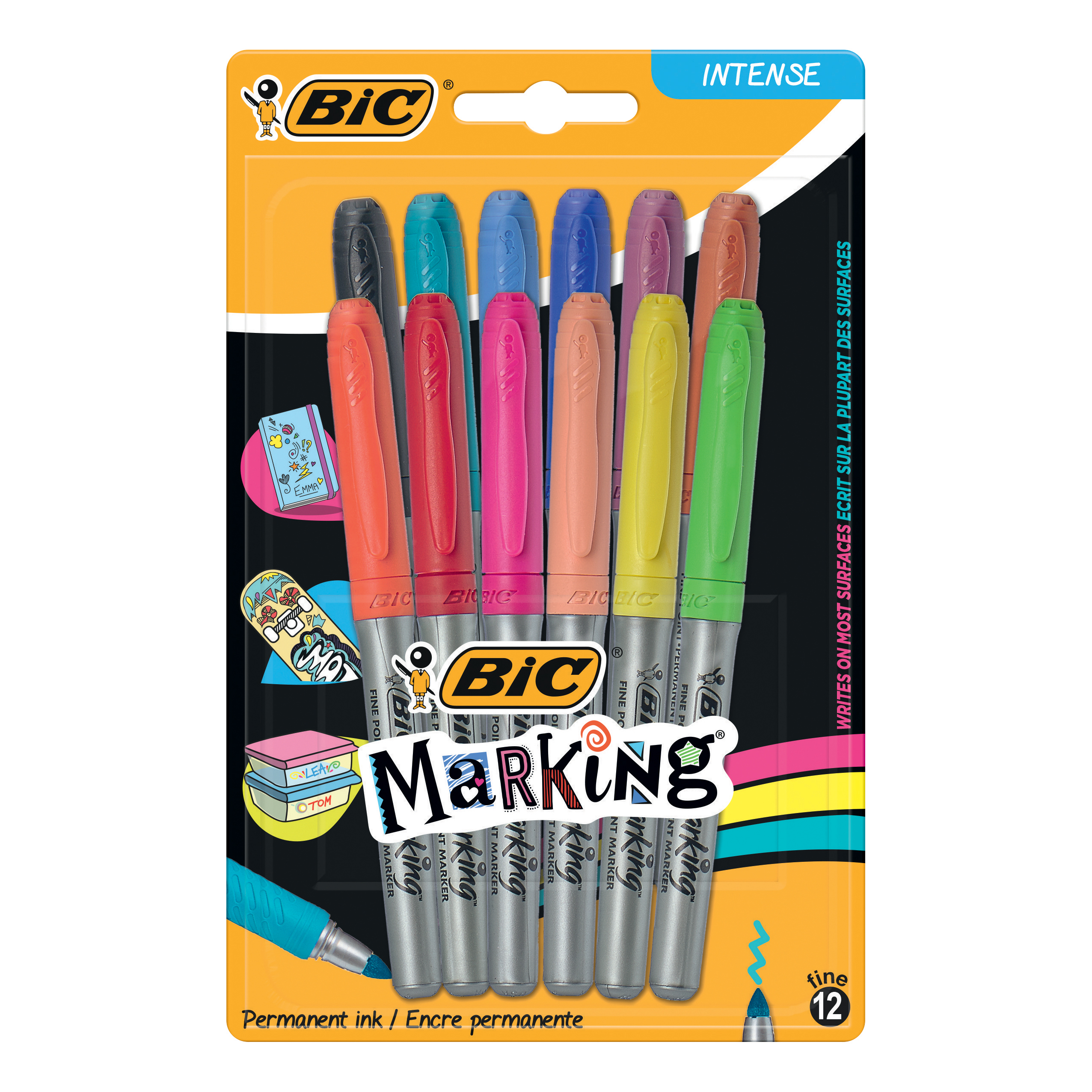 BIC Permanent Markers Colour Collection Non-toxic 0.8mm Line Assorted Ref 943163[Pack 12]