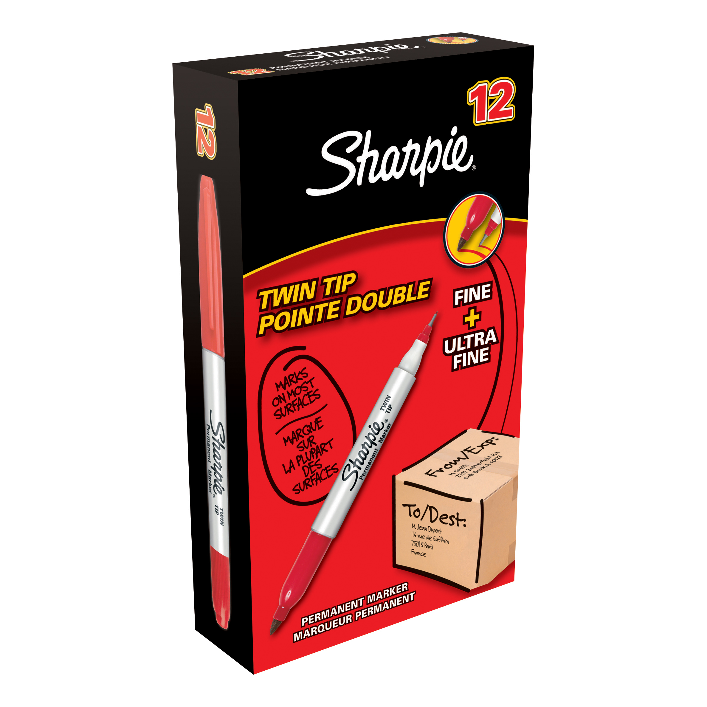 Sharpie Twin Tip Permanent Marker Alcohol-based 0.9mm and 0.5mm Line Red Ref S0811110 [Pack 12]