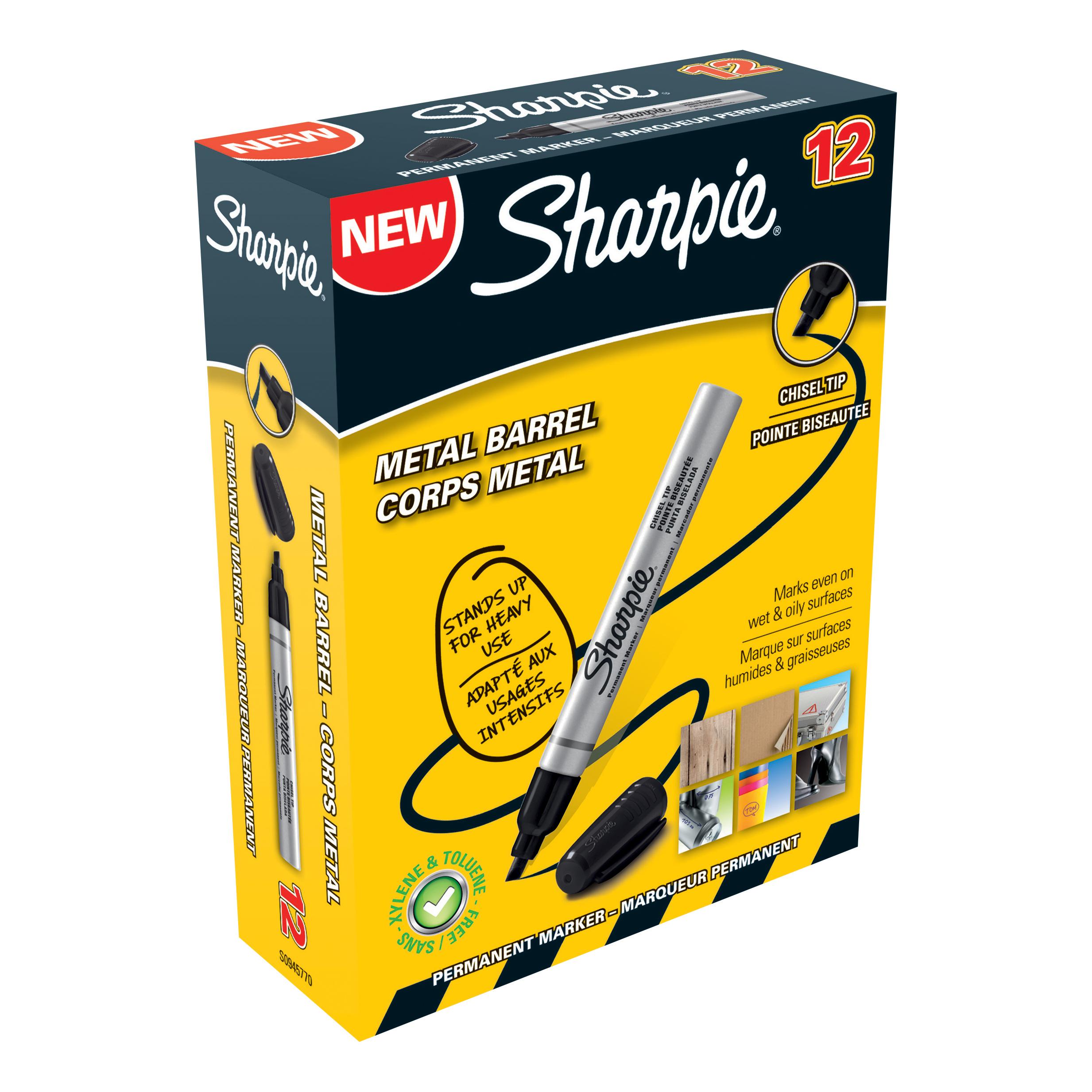 Sharpie Pro Permanent Marker Chisel Tip 1.0-4.0mm Line Black Ref S0945770 [Pack 12]