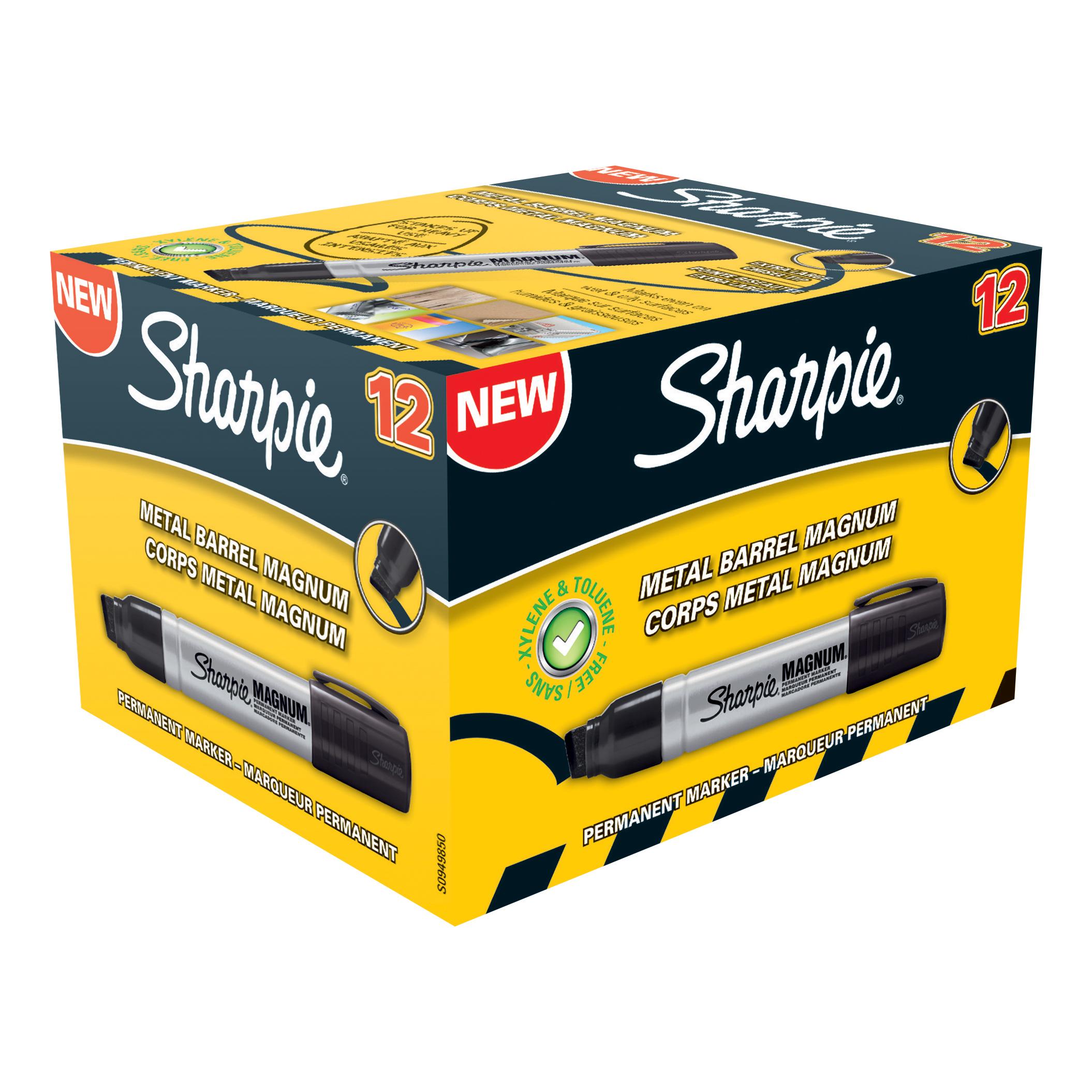 Sharpie Pro Magnum Permanent Marker Large Chisel Tip 14.8mm Line Black Ref S0949850 Pack 12